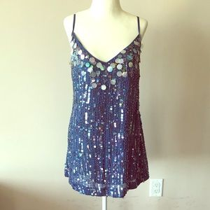 NWOT Blue sequins straps mini dress with lining